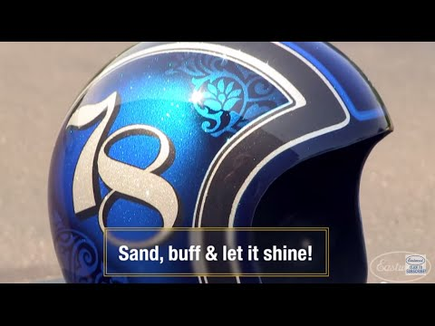 How To Paint Amazing Graphics with Metal Flake and Candeez on Vintage Motorcycle Helmet - Eastwood