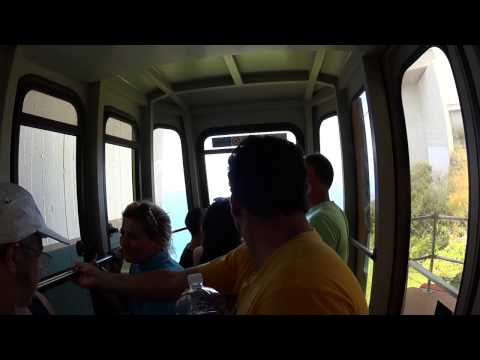 The world's steepest cable car ride. Rosh HaNikra grottoes Israel