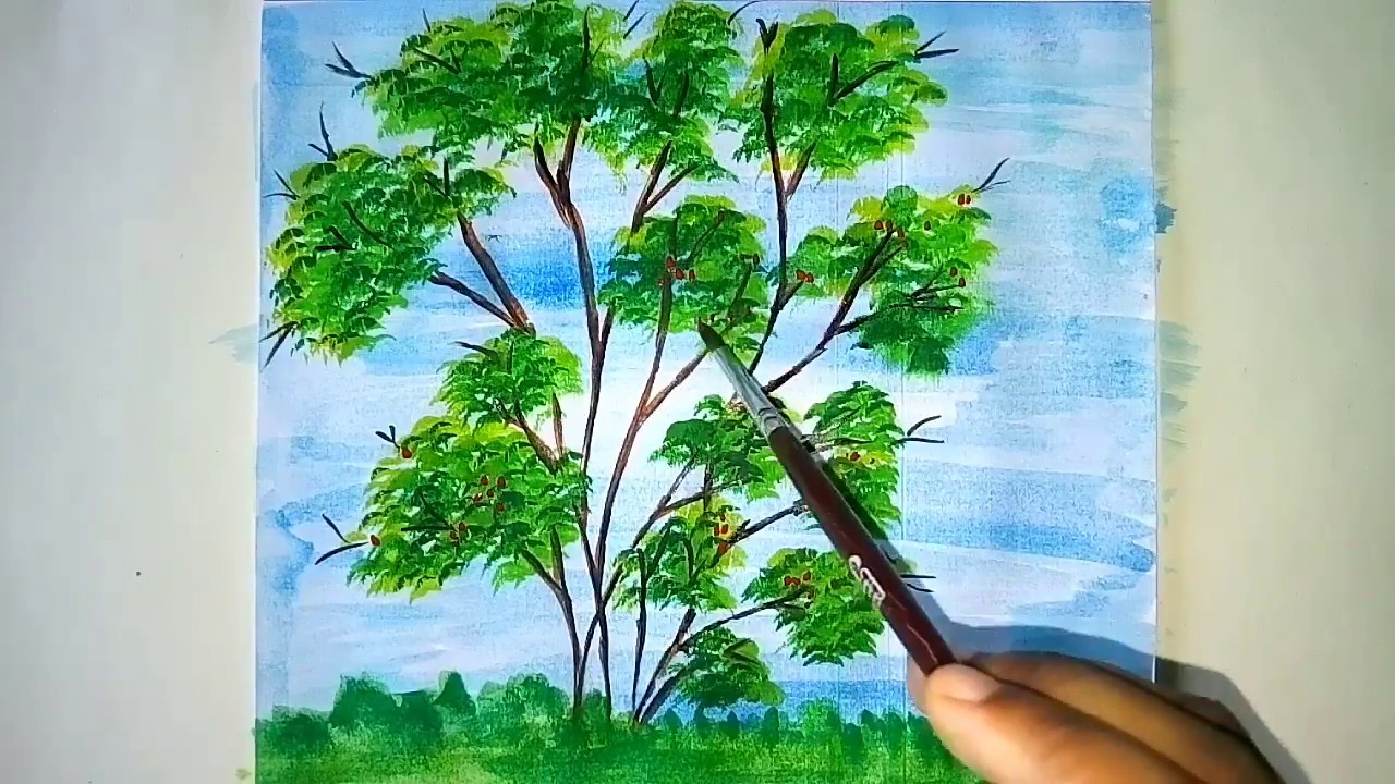 How To Draw A Easy And Beautiful Tree Step By Step Easy Drawing