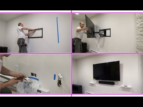 How to Wall Mount a TV. Установка TV на стену, Проводка Розетки