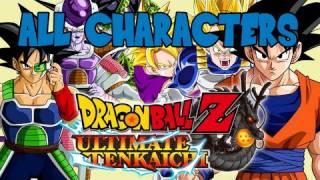 dragon ball z ultimate tenkaichi all characters in select screen hd