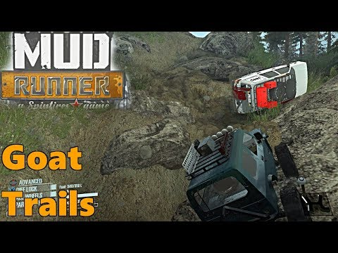 SpinTires Mud Runner: Mods, NEW Goat Trails MAP! Difficult Trails!!