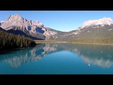 UNESCO World Heritage: Canadian Rocky Mountain - Emerald Lake Yoho National Park from the Air