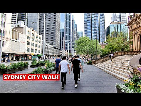 SYDNEY CITY - Walking Along SYDNEY LIGHT RAIL CBD Track - Queen Victoria Building To Chinatown
