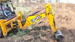 JCB Backhoe Machine Cutting Hill To Stop LandSlide