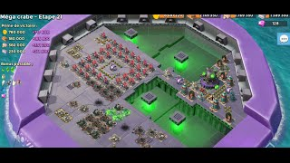 Boom beach #107 - MEGA CRAB V3 Live stream ! Stages 1-21 full scorchers and full boosted