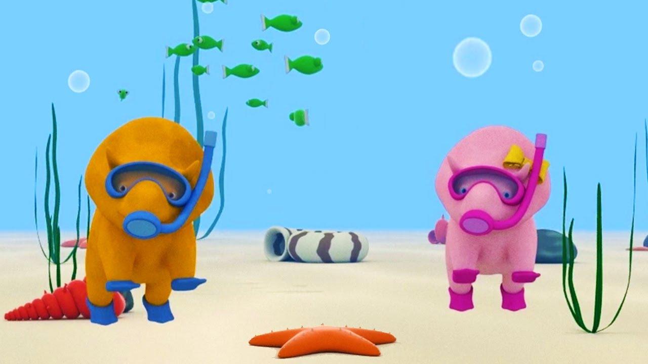 Impara i colori con pesci nel mare e dino il dinosauro
