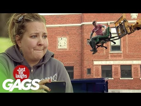 Dumped Inside Waste Container While Sleeping! - Just For Laughs Gags