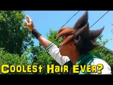 Black Guy Styles His Hair Like Goku and Yugi!!!