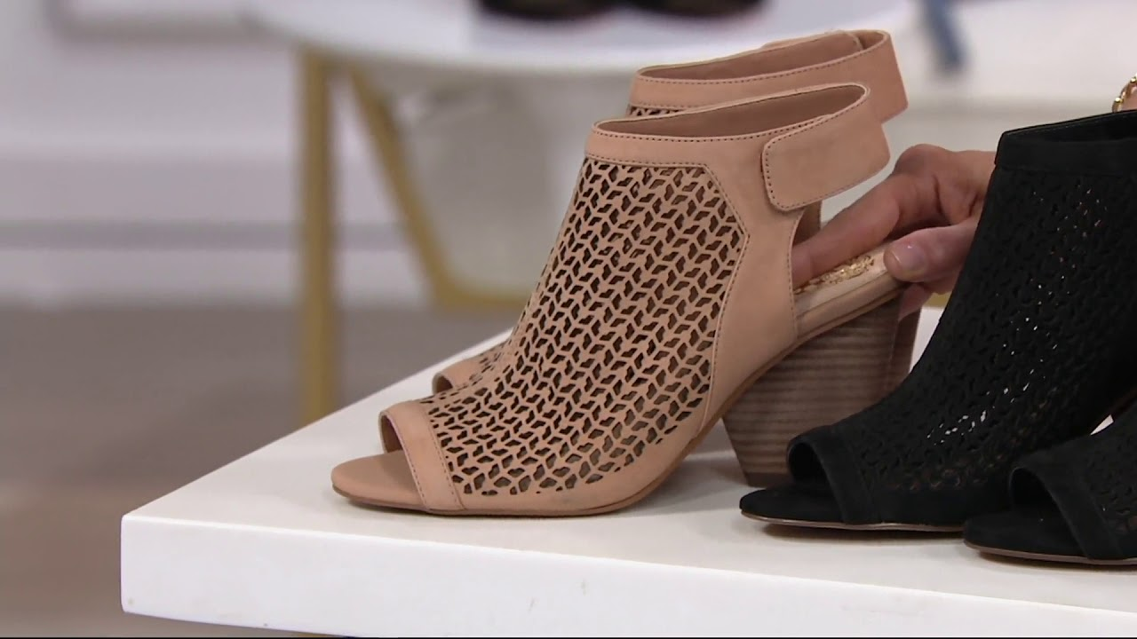 33b266a360 Vince Camuto Perforated Leather Peep- Toe Sandals - Dastana on QVC ...