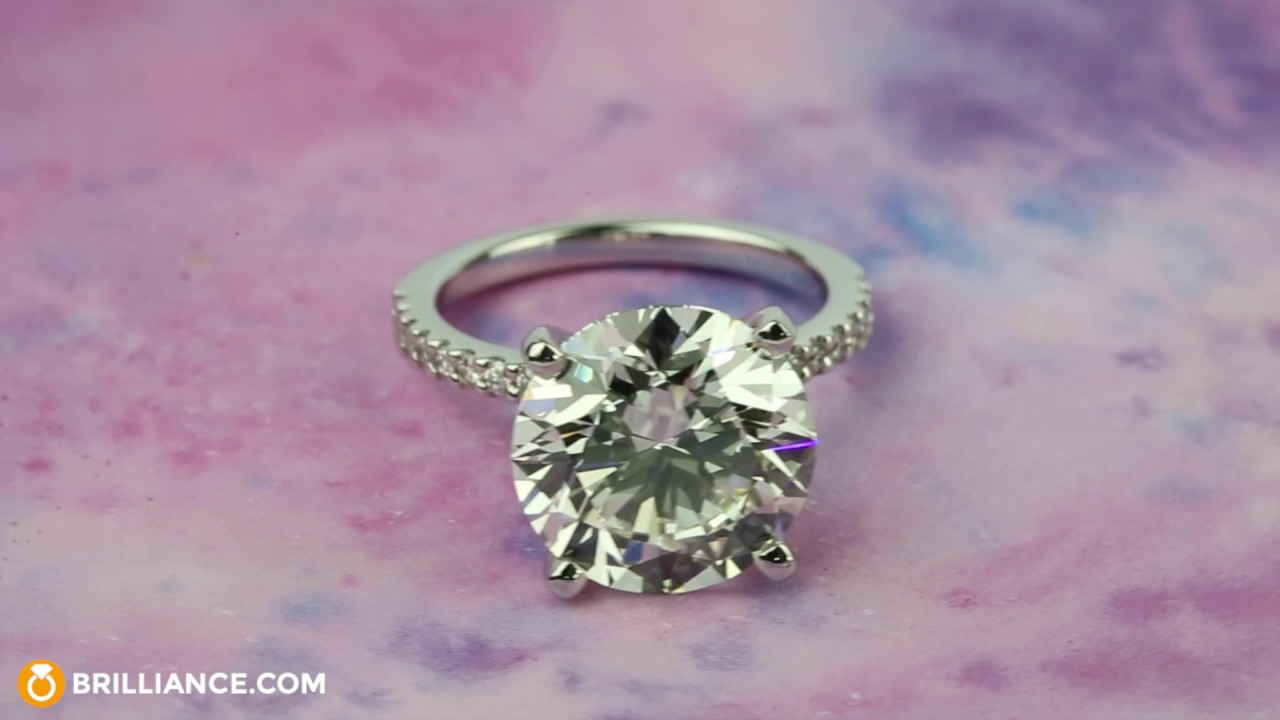 6 Carat Round Cut Diamond With Petite Engagement Ring Youtube