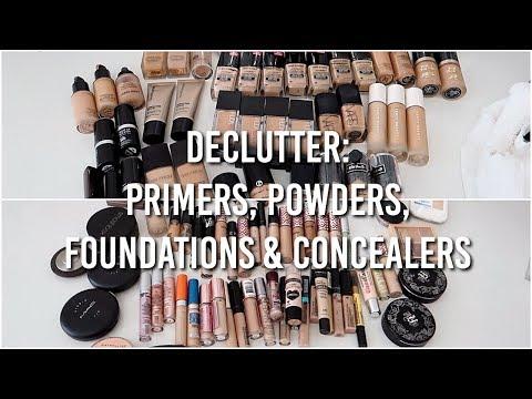 MAKEUP DECLUTTER: Primers, Powders, Foundations & Concealers 2018