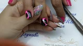 Неоновые ногти к лету Дизайн на короткие ногти Шулунова Дарья