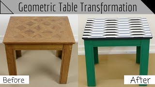 How-To Makeover Your Old End Table Into a Modern Geometric Table Using a Stencil!