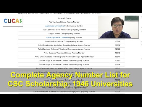 Complete Agency Number List for Chinese Government Scholarship: 1946 Universities Agency Numbers