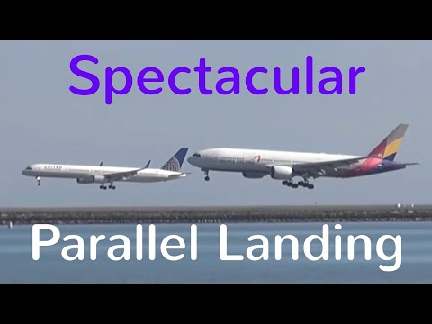Spectacular Parallel Landing at San Francisco Int´l Airport SFO
