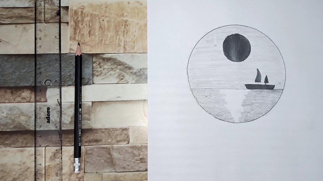 رسم سهل تعليم رسم منظر طبيعي سهل خطوه بخطوه بالرصاص للمبتدئين