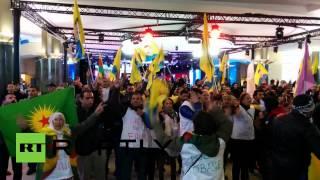 RAW: Kurdish protesters storm EU parliament in Brussels