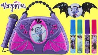 Disney Jr. VAMPIRINA Musical Boom Box with Microphone & Light + Lip Gloss & Nail Polish Set