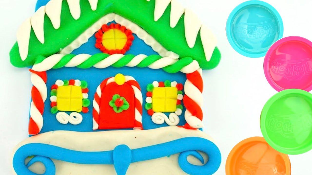 Лепим пряничный домик из пластилина. Развивающее видео