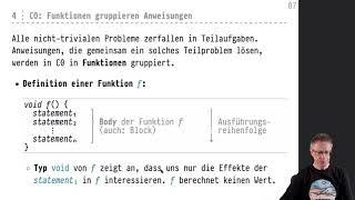 Informatik 2 — Chapter #01 — Video #002 — Anweisungen vs. Ausdrücke, void-Funktionen, Kommentare