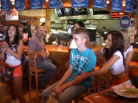 Nick Embarassed By Hooters Girls!!