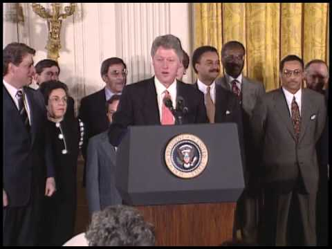 President Clinton Speaking at a Swearing-In of Cabinet ...