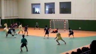 ハンドボール、湧永レオリックGK志水選手の左足1本スーパーセーブ!Handball Goalkeeper Shimizu great save!!