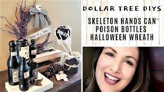 DOLLAR TREE Halloween DIYs POISON JARS + WREATH + SKELETON HANDS CAN