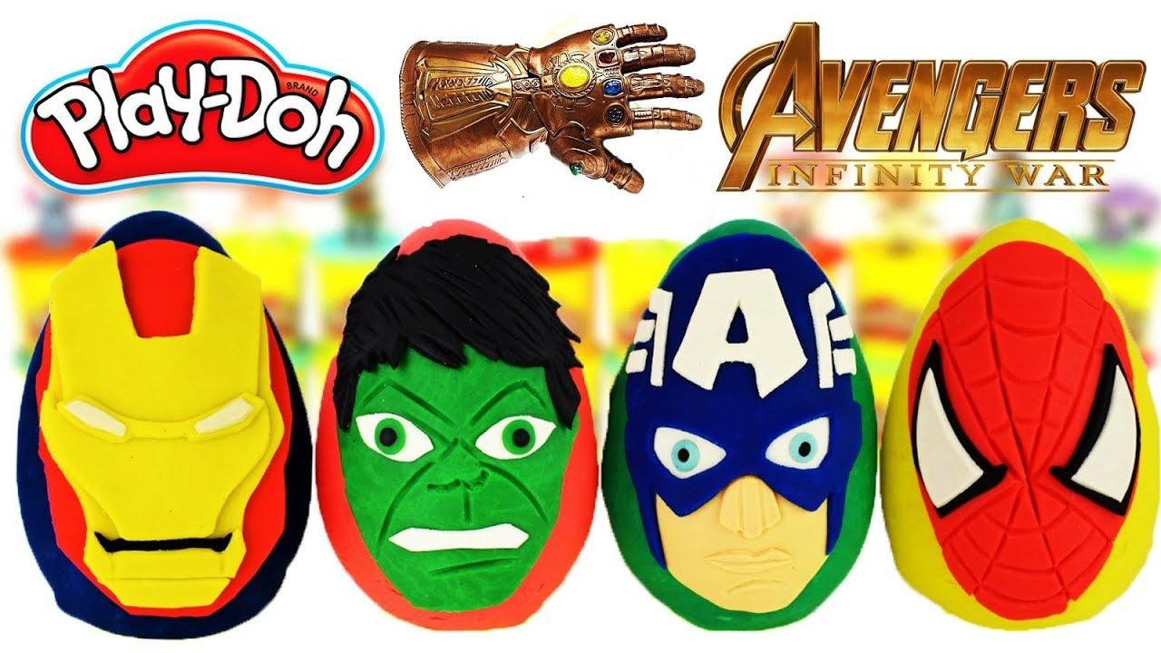 Aprende los Colores con Huevos Sorpresas de Spiderman  Hulk Thor Ironman  Plastilina Play Doh