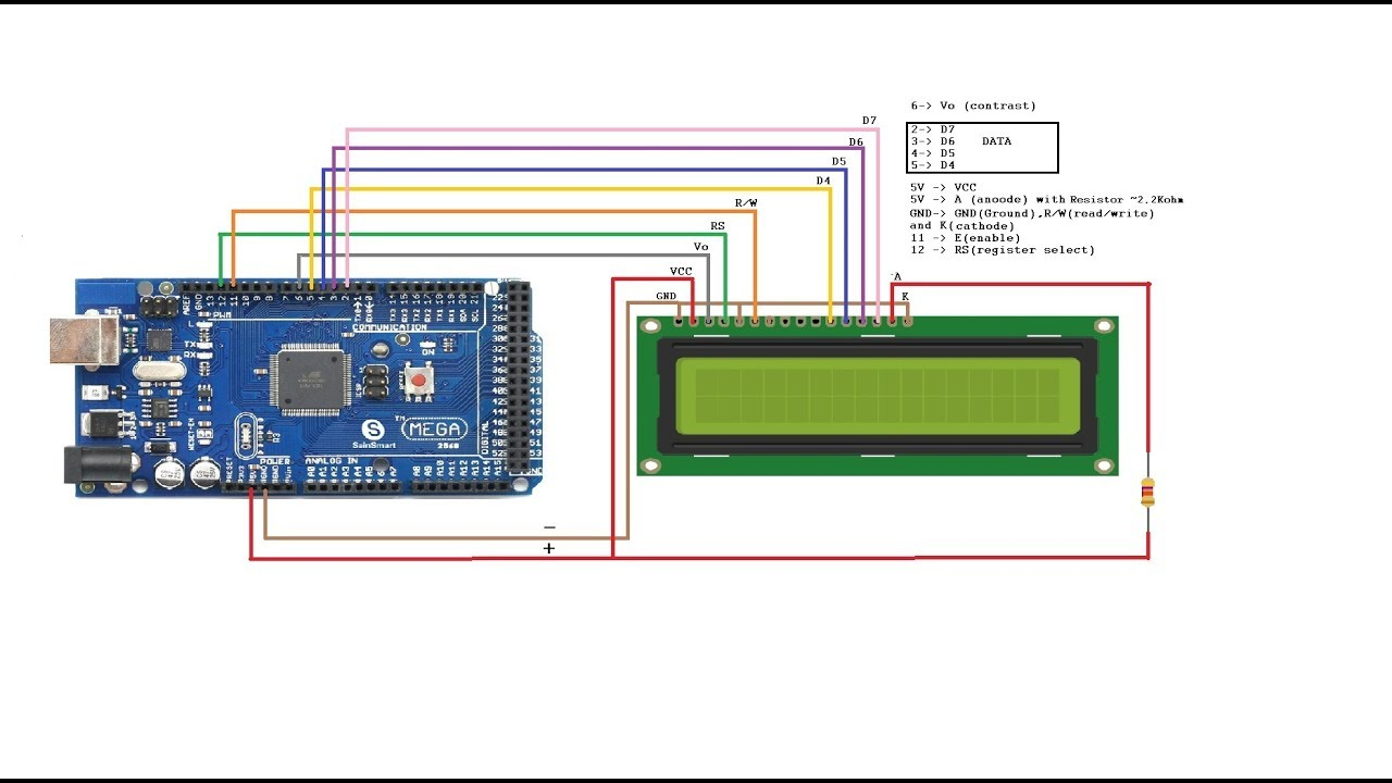 how to connect arduino to an lcd with out potentiometer tutorial rh youtube com arduino lcd keypad shield wiring arduino lcd wire