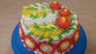 Украшение торта кремом в домашних условиях Торт с ТЮЛЬПАНАМИ и ХРИЗАНТЕМАМИ Cake decoration