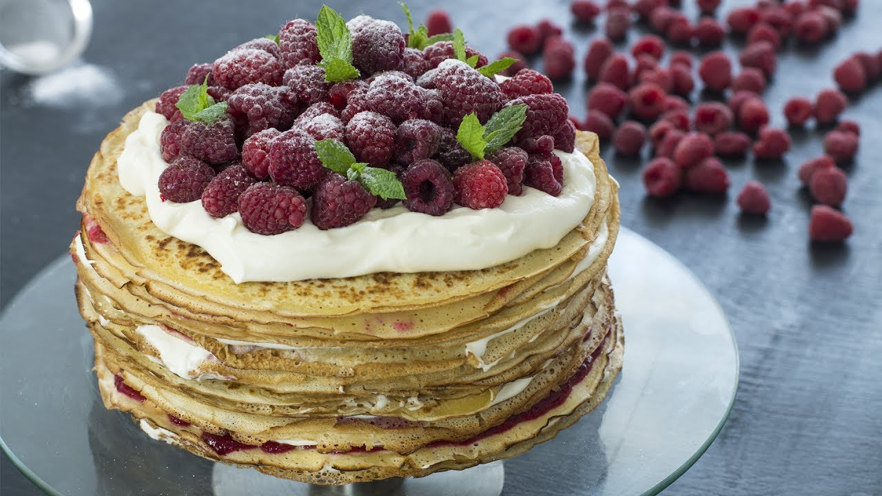White Chocolate Raspberry Crepe Cake Recipe