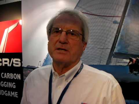 Eric Hall from Hall Spars shows off new halyard locks and aerofoil carbon  rigging