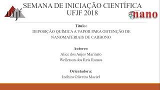 """UFJF/SEMIC 2018 - """"DEPOSIÇÃO QUÍMICA A VAPOR PARA OBTENÇÃO DE NANOMATERIAIS DE CARBONO"""""""