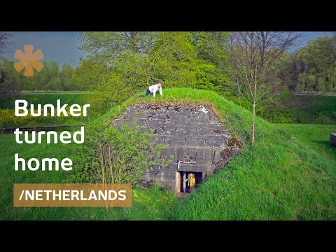 Beauty of Dutch ruined defensive bunker turned spartan lodge