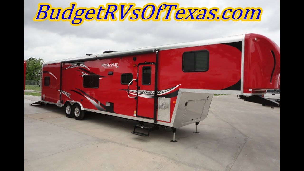 Work And Play Toy Hauler >> 38ft 2015 Work And Play Wpf 38 Rls Fifth Wheel Toy Hauler Ideal For Fun And Comfort