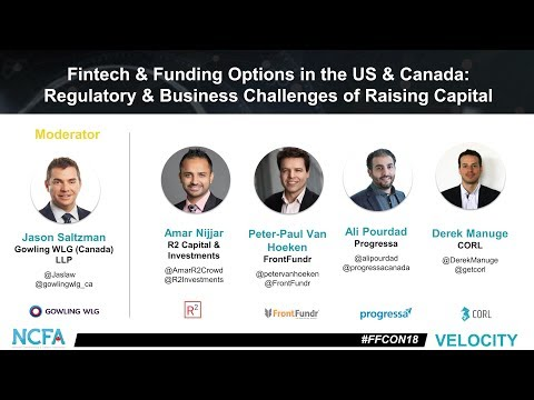 NCFA FFCON18 mainstage 13 fintech funding options in the us canada regulatory business challenges of