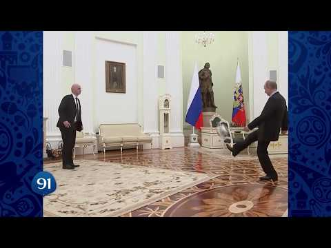 Putin juggles ball in '100 days to Russia World Cup' FIFA clip