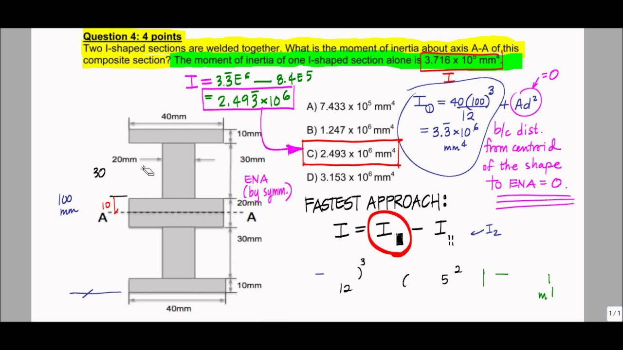 Moment Of Inertia Parallel Axis Theorem Example Exam Problem F12