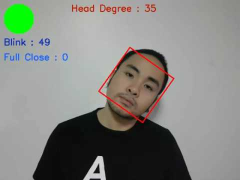 Blinks and Head Angle Detection using OpenCV