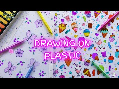 DRAWING ON PLASTIC ❤ HOW TO DECORATE BINDER DIVIDERS & CLEAR SHEET PROTECTORS