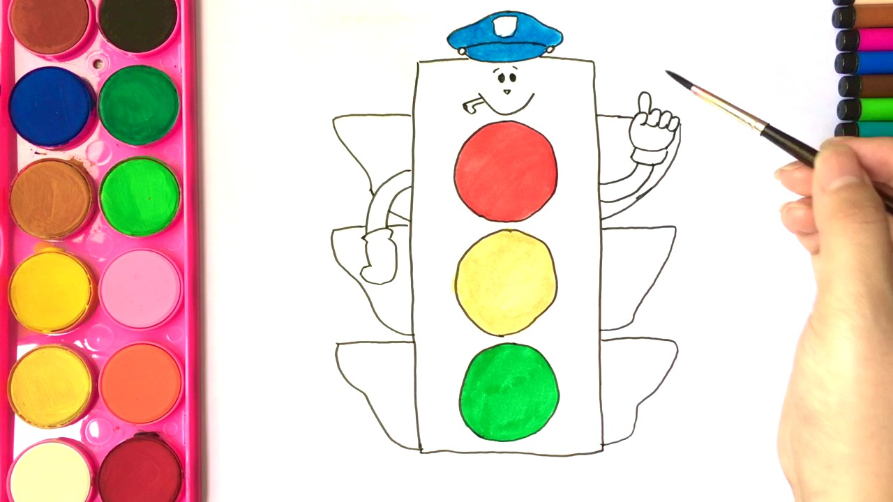 Coloring pages for kids I Draw Traffic light I Learn colors