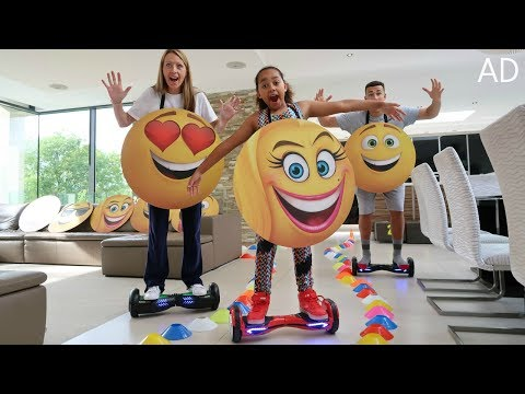 Download Youtube: THE EMOJI MOVIE Crazy Hoverboard Challenge In Our House! Part 2 Family Fun Games