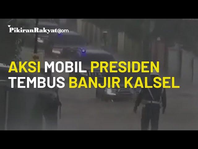 Aksi Mobil Rombongan Presiden Jokowi Terobos Banjir di Kalsel, Ketinggian Air Mencapai Roda Mobil