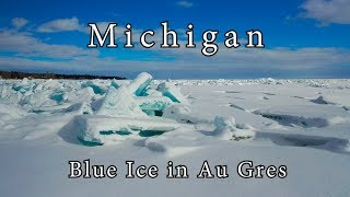 Blue Ice in Au Gres Michigan March 2019