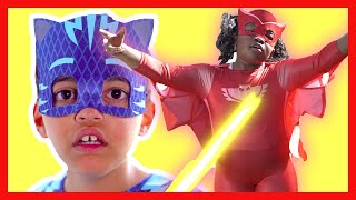 PJ Masks in Real Life: Owlette mind controlled by Romeo | Halloween PJ Masks