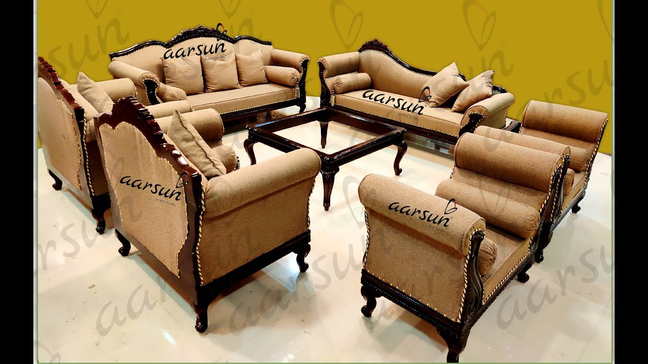 182 Wooden Sofa Set 10 Seater With Table For Living Room Buy Online @Aarsun Woods - YouTube