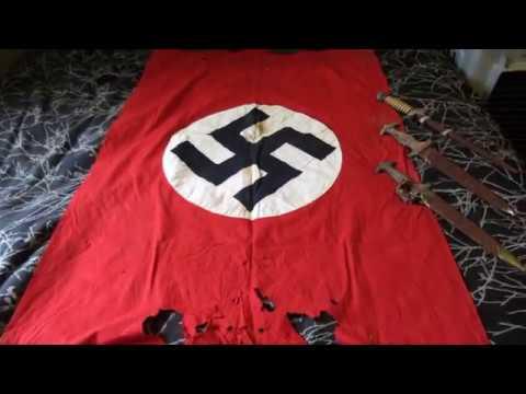 Nazi Treasure Trove found in Quebec SS SA Air-Force Daggers Flag