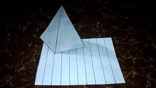 How to Draw 3D Pyramid on Line Paper Trick Art For Kids